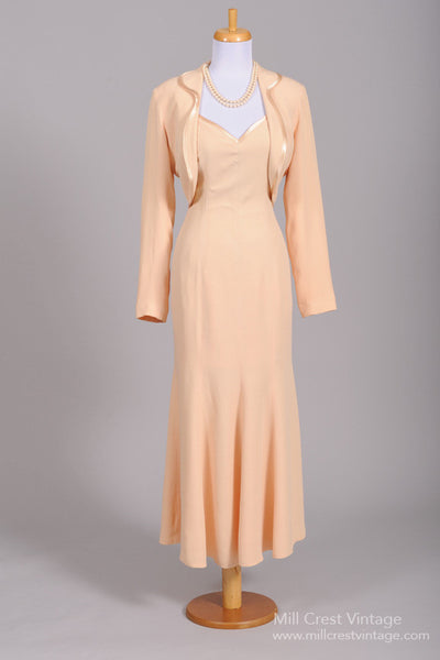 1970 Peach Vintage Wedding Ensemble-Mill Crest Vintage