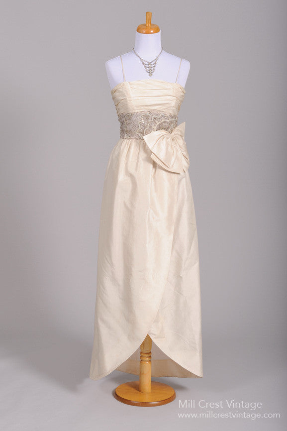1960\'s Silk Wrap Vintage Wedding Gown