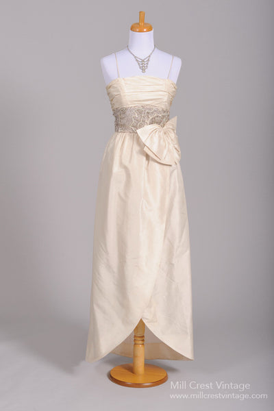 1960 Silk Wrap Vintage Wedding Gown-Mill Crest Vintage