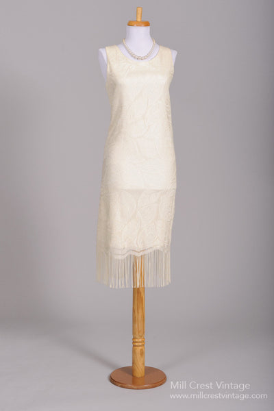 1970 Flapper Knit Vintage Wedding Dress-Mill Crest Vintage