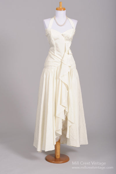 1980 Asymmetrical Vintage Wedding Dress-Mill Crest Vintage