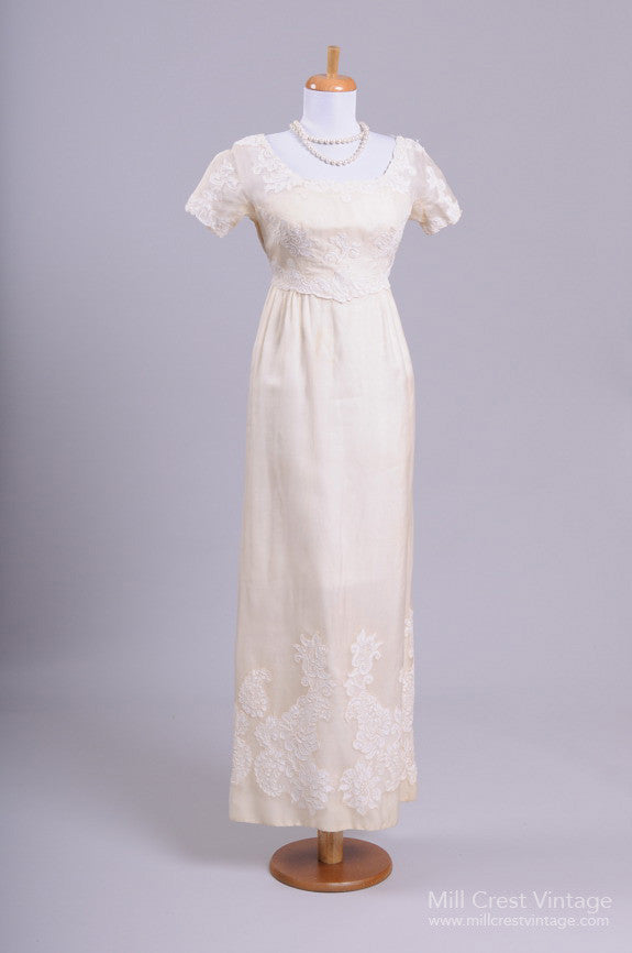 1960 Silk Organza Vintage Wedding Gown-Mill Crest Vintage