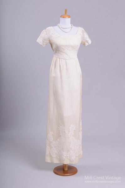 1960 Silk Organza Vintage Wedding Gown - Mill Crest Vintage