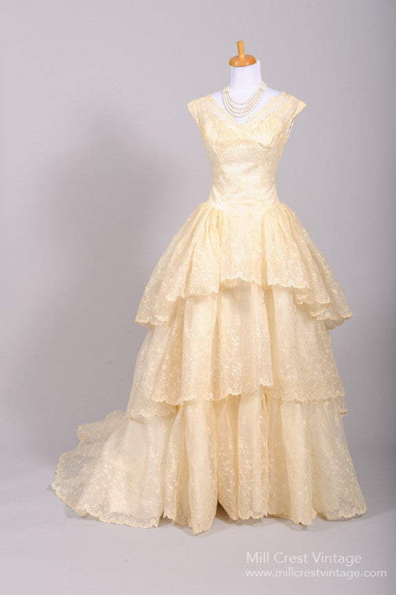 1950 Tiered Lace Vintage Wedding Gown - Mill Crest Vintage