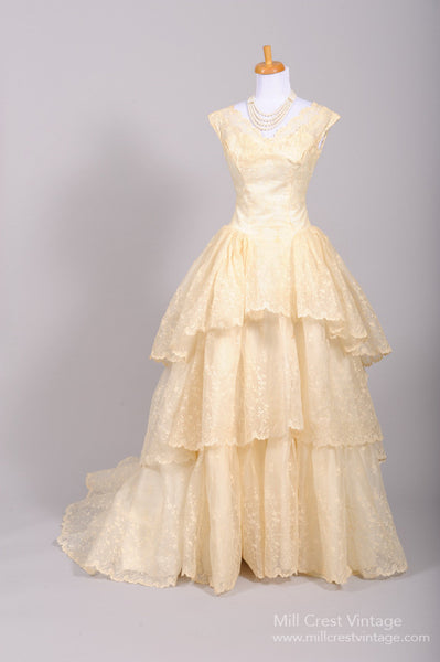 1950 Tiered Lace Vintage Wedding Gown-Mill Crest Vintage