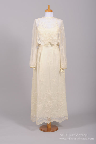 1970 Lace Vintage Wedding Ensemble-Mill Crest Vintage