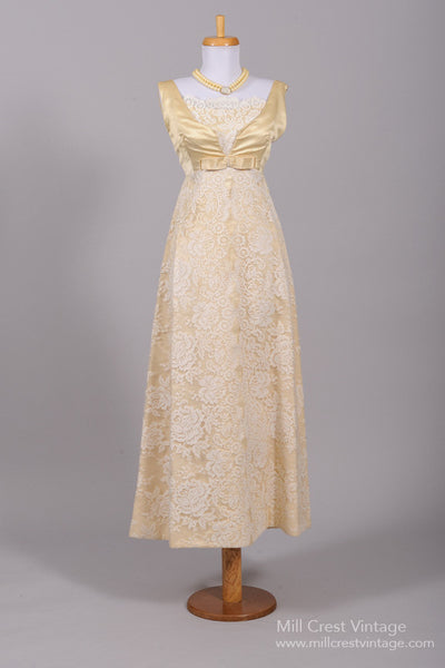 1960 Priscilla of Boston Lace Vintage Wedding Gown - Mill Crest Vintage