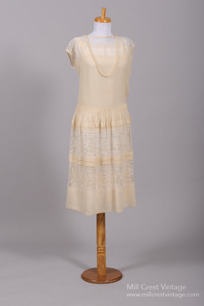 1920 Gatsby Lace Vintage Wedding Dress - Mill Crest Vintage