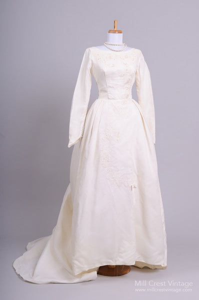1960 Formal Bustled Vintage Wedding Gown - Mill Crest Vintage