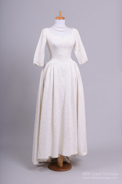 1960 Rose Brocade Vintage Wedding Gown - Mill Crest Vintage