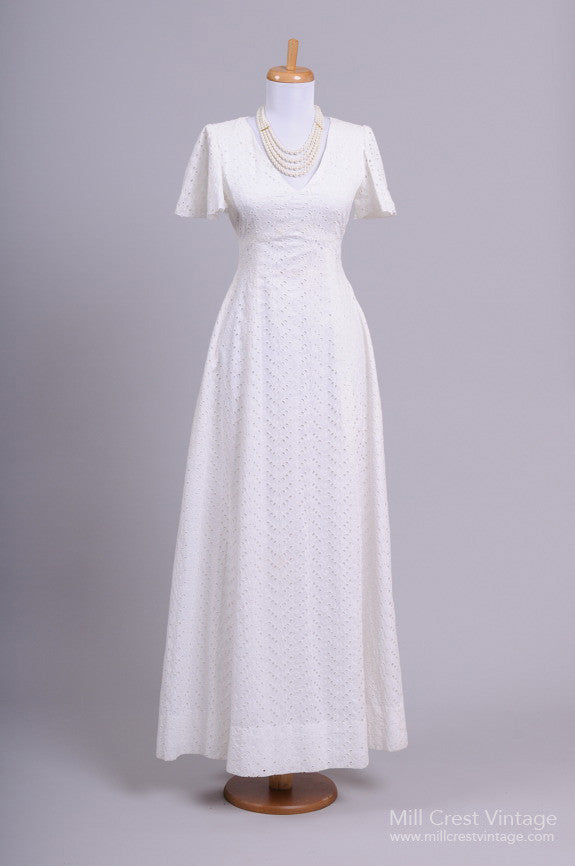 1970 Eyelet Cotton Vintage Wedding Gown-Mill Crest Vintage