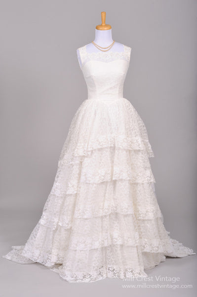 1950 Princess Lace Vintage Wedding Gown - Mill Crest Vintage