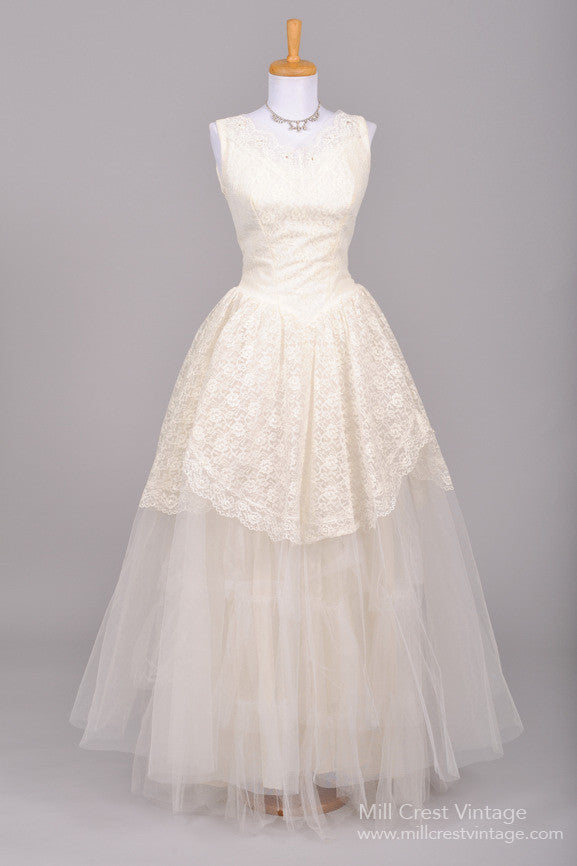 1950 Lace and Tulle Vintage Wedding Gown - Mill Crest Vintage