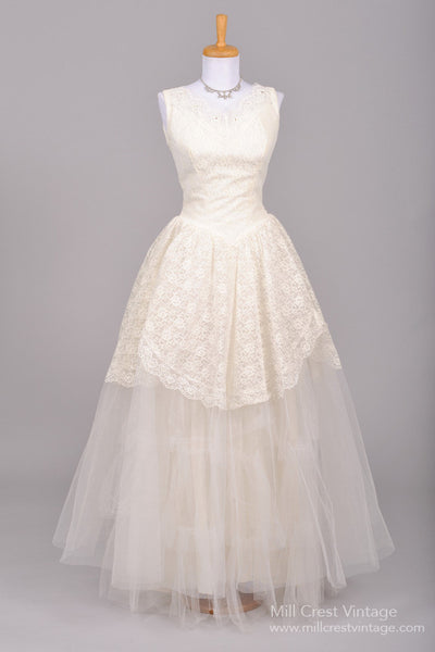 1950 Lace and Tulle Vintage Wedding Gown-Mill Crest Vintage