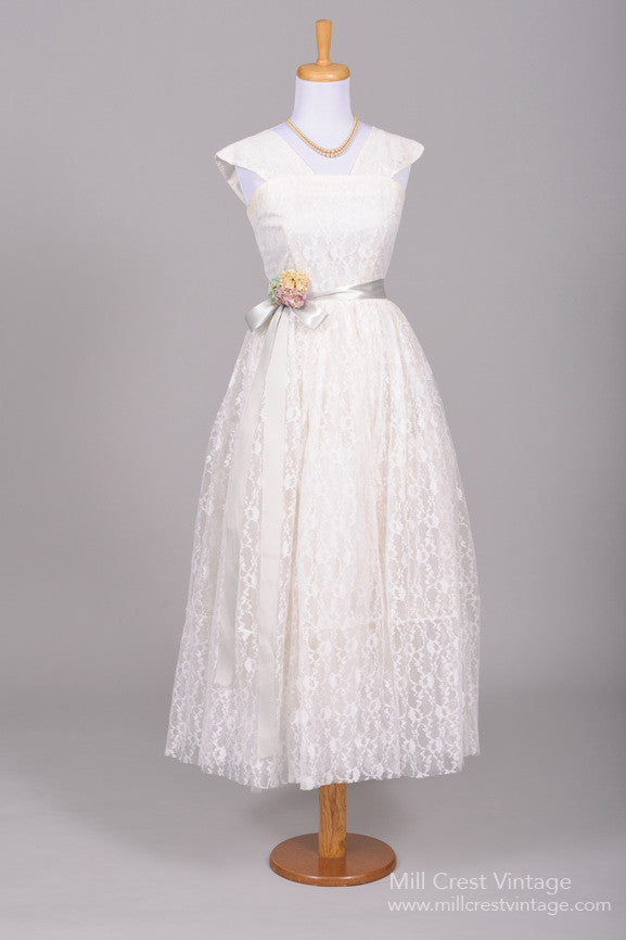 1950 Lace Embroidered Vintage Wedding Dress - Mill Crest Vintage