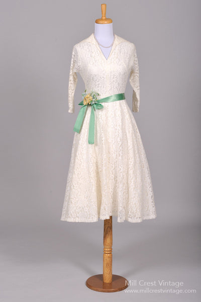 1950 Midi Lace Vintage Wedding Dress - Mill Crest Vintage
