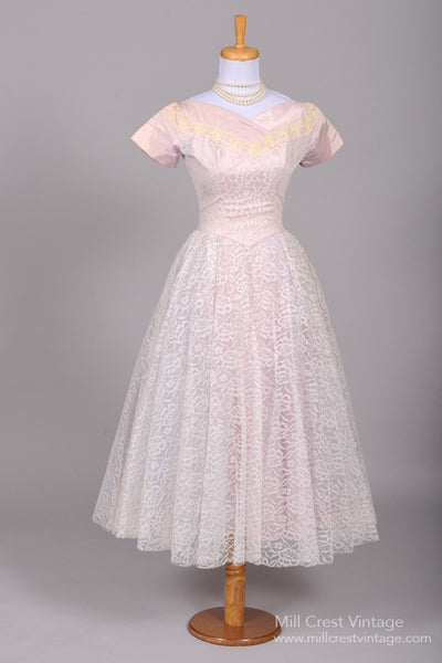1950 Lilac Lace Vintage Wedding Dress - Mill Crest Vintage
