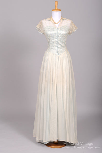 1940 Blue Lace Vintage Wedding Gown - Mill Crest Vintage