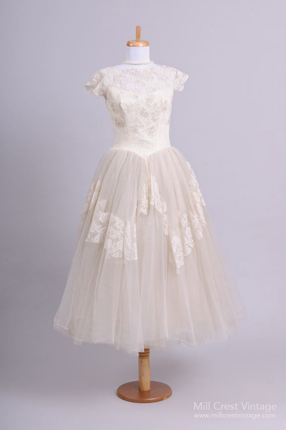 1950 Tea Length Tulle Vintage Wedding Dress - Mill Crest Vintage