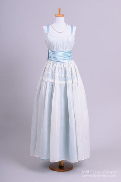1960 Blue Organdy Vintage Wedding Gown - Mill Crest Vintage