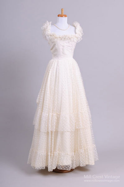 1970 Dotted Ruffled Vintage Wedding Gown - Mill Crest Vintage