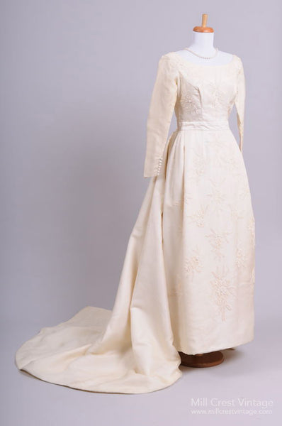1960 Bianchi Silk Vintage Wedding Gown - Mill Crest Vintage