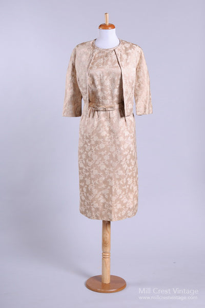 1950 Cream Brocade Vintage Wedding Ensemble - Mill Crest Vintage