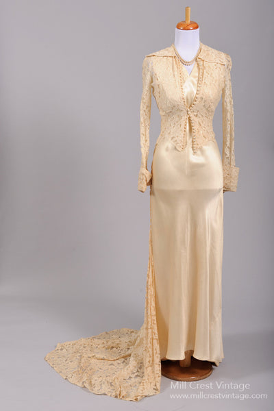 1940 Silk and Lace Vintage Wedding Ensemble-Mill Crest Vintage