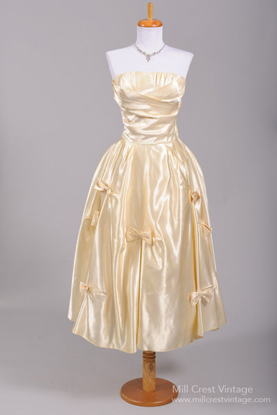1950 Champagne Silk Strapless Vintage Wedding Dress - Mill Crest Vintage