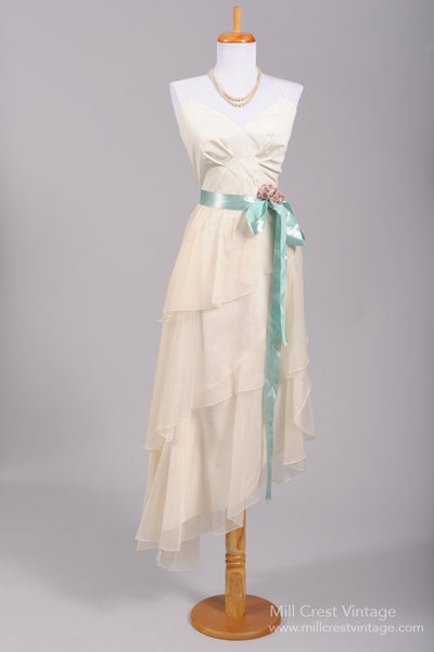 1970 Asymmetrical Chiffon Vintage Wedding Dress - Mill Crest Vintage