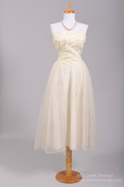 1950 Embroidered Sequin Vintage Wedding Dress - Mill Crest Vintage