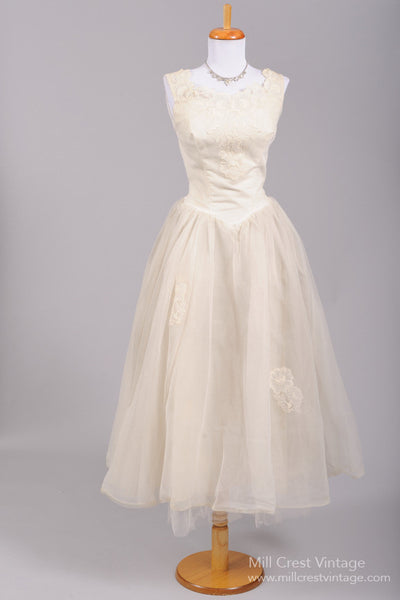 1950 Rose Tea Vintage Wedding Dress - Mill Crest Vintage