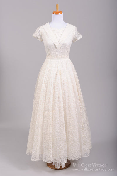 1950 Nautical Lace Vintage Wedding Gown - Mill Crest Vintage