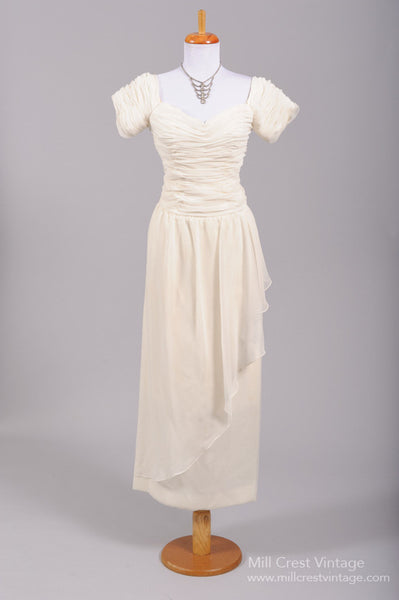 1970 Ruched Wrap Vintage Wedding Gown-Mill Crest Vintage