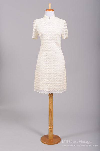 1960 Lace Scooter Vintage Wedding Dress-Mill Crest Vintage