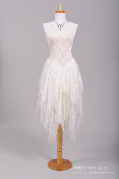 1980 Knit Lace Vintage Wedding Dress-Mill Crest Vintage