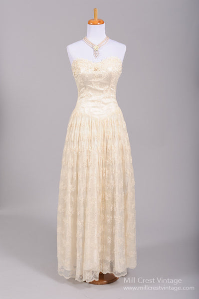 1970 Floral Lace Vintage Wedding Gown - Mill Crest Vintage