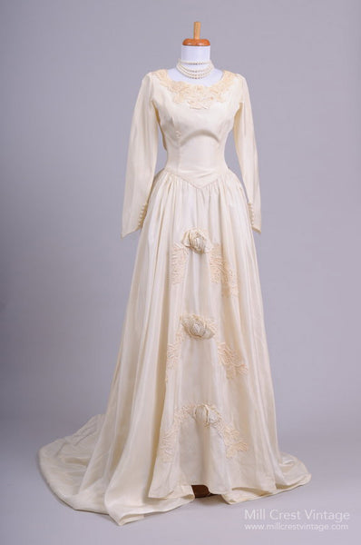 1940 Champagne Taffeta Vintage Wedding Gown Mill Crest