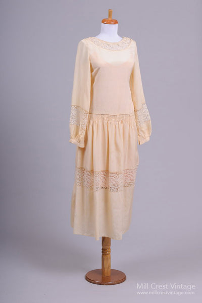 1930 Vanilla Vintage Wedding Dress-Mill Crest Vintage