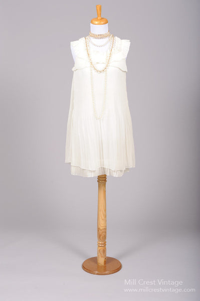 1980 Ruffled Mini Vintage Wedding Dress-Mill Crest Vintage