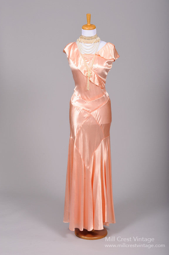 1930 Salmon Slipper Satin Vintage Wedding Gown