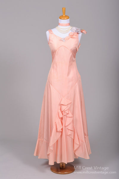 1930 Peach and Grey Taffeta Vintage Wedding Gown - Mill Crest Vintage