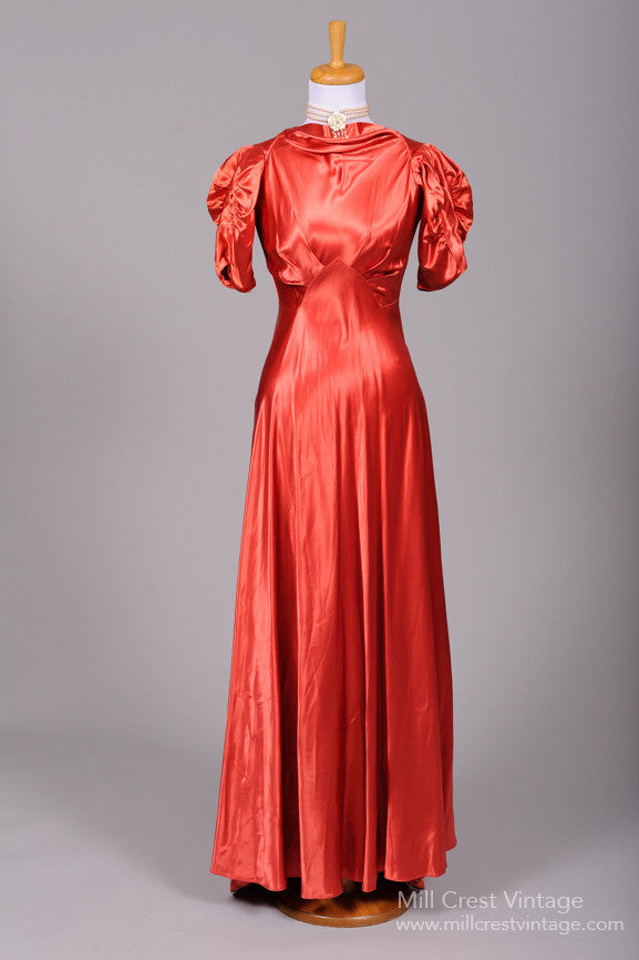 1940 Rust Toned Liquid Satin Vintage Wedding Gown