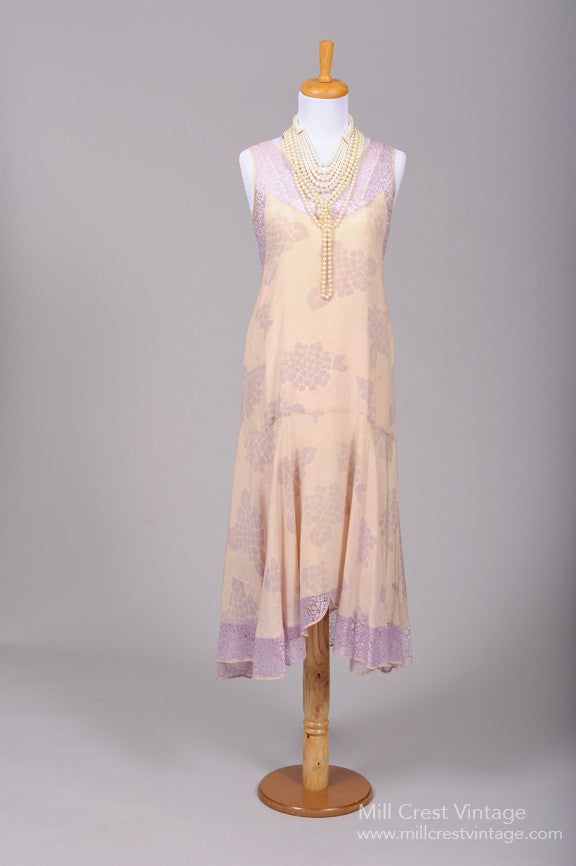 1920 Lilac Lace Silk Vintage Wedding Dress - Mill Crest Vintage
