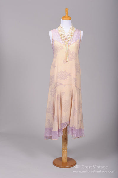 1920 Lilac Lace Silk Vintage Wedding Dress-Mill Crest Vintage