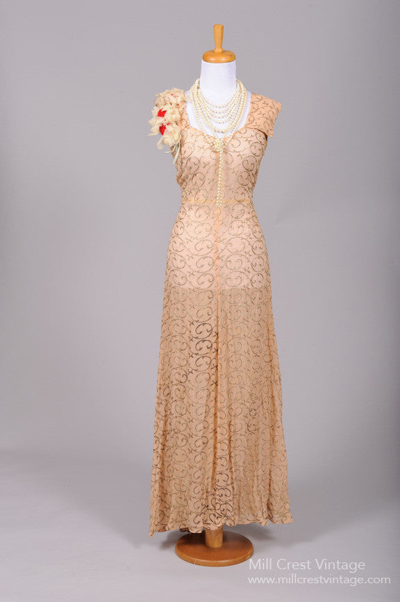 1940 Apricot Chiffon Vintage Wedding Gown-Mill Crest Vintage