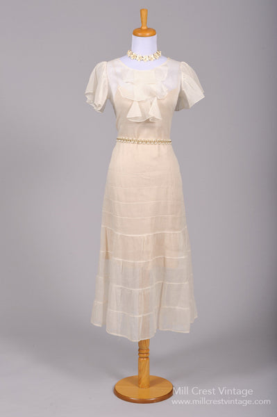 1930 Organdy Tea Style Vintage Wedding Dress - Mill Crest Vintage