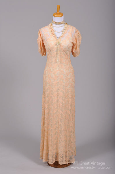 1930 Embroidered Peach Vintage Wedding Gown - Mill Crest Vintage