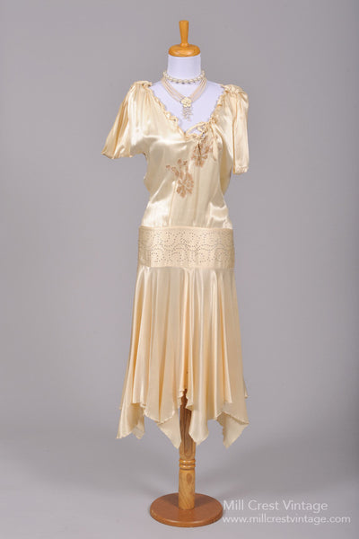 1920 Drop Waist Silk Vintage Wedding Dress - Mill Crest Vintage