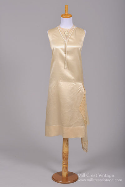 1920 Silk Satin Pearl Vintage Wedding Dress-Mill Crest Vintage